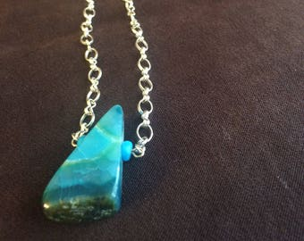 Hand crafted jewelry, Stone jewelry, Silver colored chain