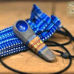 Ornamental handcrafted blue smoking pipe with bag, Housewarming birthday present, Bowl with pattern, Personalized gift for her, Tobacco bowl