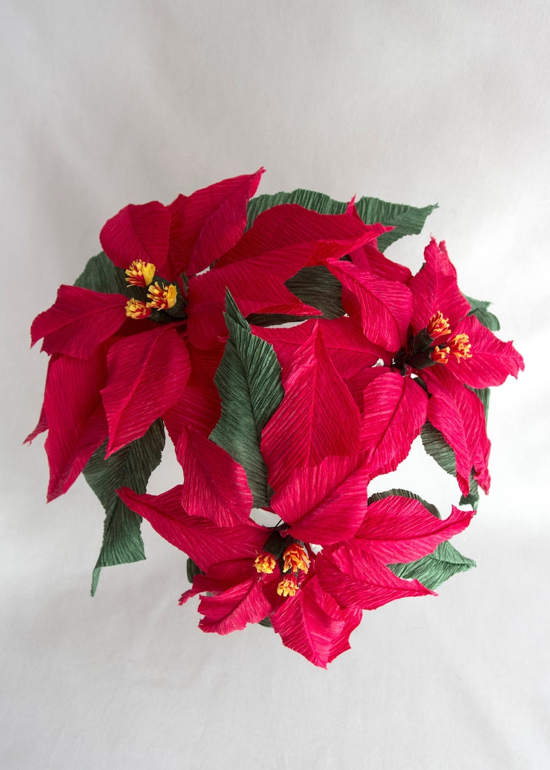 Poinsettia Crepe Paper Flowers Bush Bouquet Cat Friendly