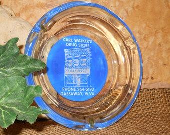 Collectible Vintage Gassaway Trinket Tray Gift Drug Store Glass Ashtray Desk Caddie West Virginia Carl Walker