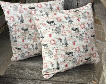 All Things Christmas Farmhouse Pillow Covers Set of Two Vintage-Shabby Chic-Rustic
