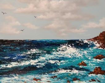 20 x 16 Acrylic seascape clouds