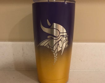 Minnesota Vikings Custom Powder Coated Yeti, Rtic or Ozark Tumbler No Vinyl Decal