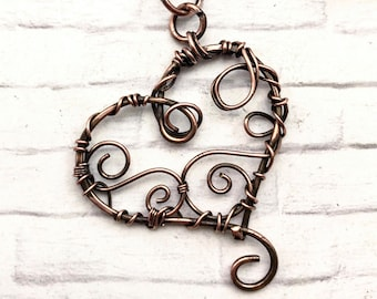copper pendant, wire wrapped pendant, heart pendant, Mothers Day gift,  handmade pendant, copper heart necklace, heart necklace