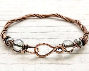 copper bracelet, wire wrapped bracelet, beaded bracelet, copper bangle, beaded bangle, handmade bracelet