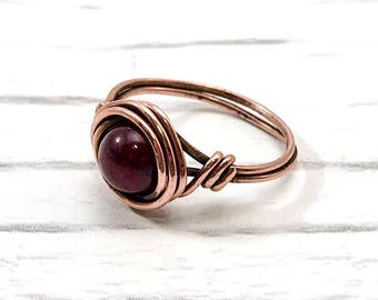 copper wire ring, jade ring, wire wrapped ring, handmade ring, beaded ring