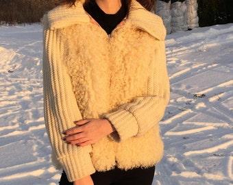 Vintage sheep fur coat