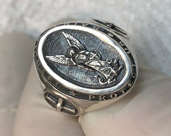 f3a84cb38d7 Saint Michael Design Sterling Silver 925 Solid Ring