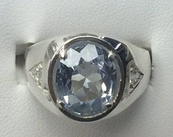 Sterling Silver .925 Mens Ring with Aquamarine Lab created Sizes 6-14 NEW!