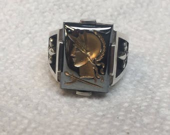 Sterling Silver 925. Intaglio Roman Soldier Flour the Lee Mans Ring Available Size 6 up to 14