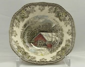 Set of 8 Johnson Brothers Squared Bowls The Friendly Village The Covered Bridge Collection - Argonne Hall, LLC