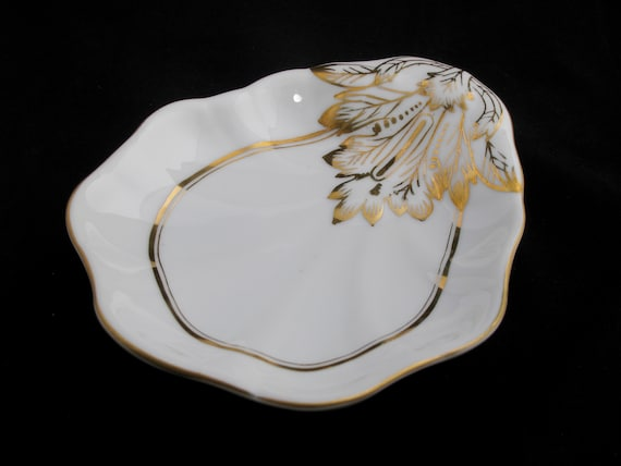 Shell Shaped Dish With Gold Leaf Accents   Argonne Hall, Llc by Etsy