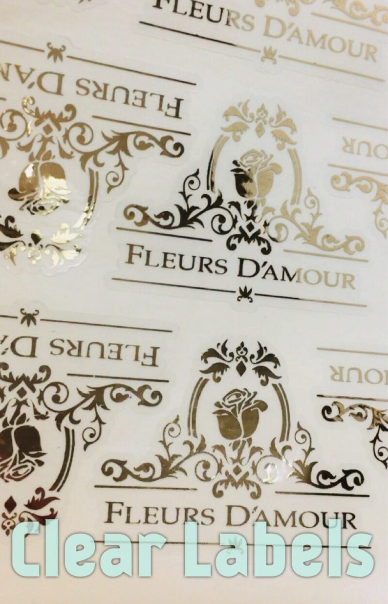 CUSTOM Candle Labels Any SHAPE, Any Design, CLEAR Background  Gold Rose  Gold Colored Foil Label, 2D Die Cut- Any Shape