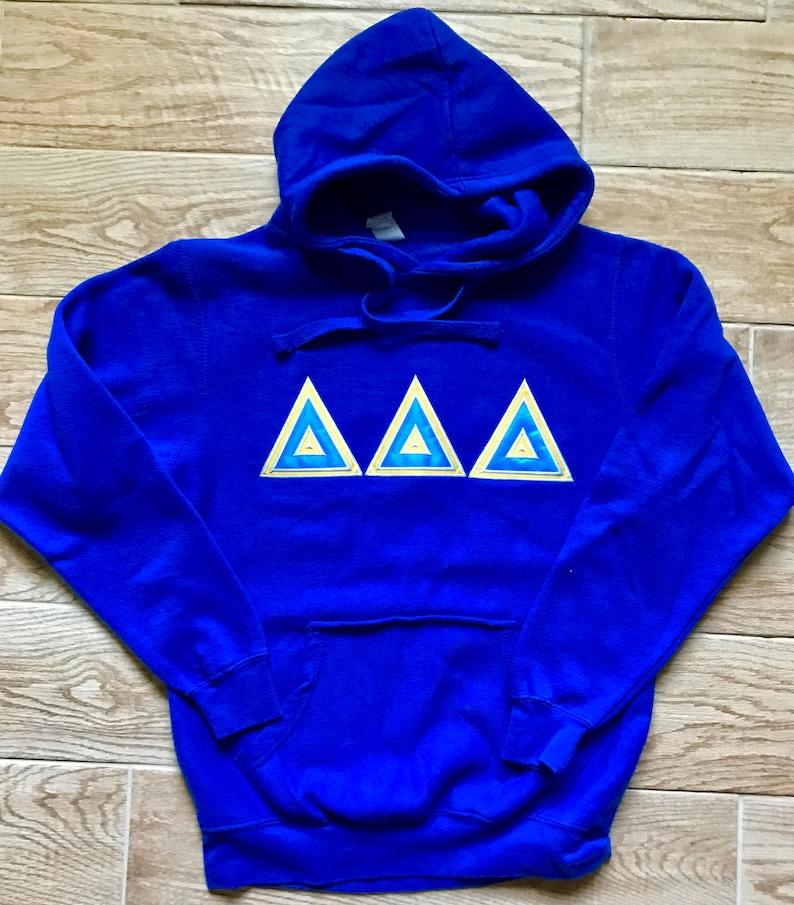 Greek Sorority Apparel Embroidered Tri Delt Sorority Sweater Sorority Delta Delta Delta Hoodie Sweatshirt Royal Blue Hoodie Greek Letters