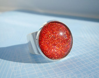 Orange Glitter Polish Ring