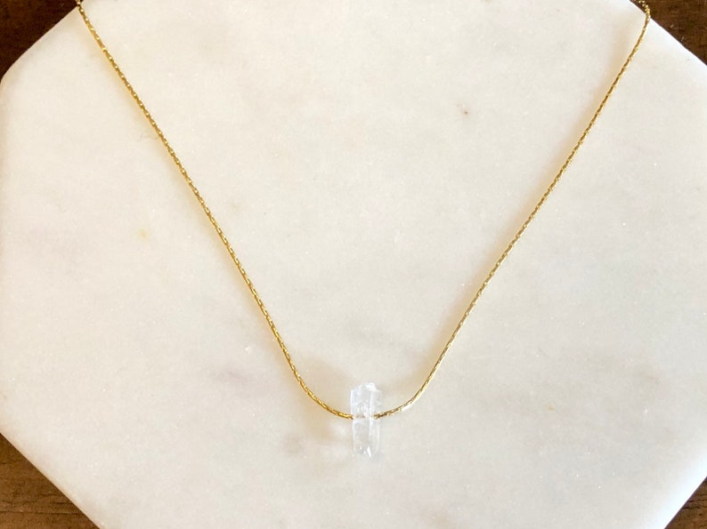 Delicate Minimalist Gold Jewelry Single Clear Quartz on Gold Choker Delicate Gold Filled Snake Chain Dainty Crystal Choker