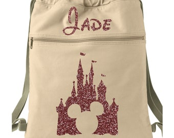 e05eb8d3aa Mickey Mouse Glitter Name Backpack -- Canvas Backpack --Disney backpack --  Personalized Disney Backpack -- Disney Glitter Backpack