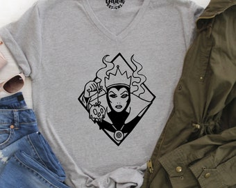 3c22fffda Evil Queen V Neck shirt - Evil Queen shirt - Ladies Fitted V Neck Shirt -  Evil Queen V Neck Adult Shirt -- Evil Queen -- Disney shirt