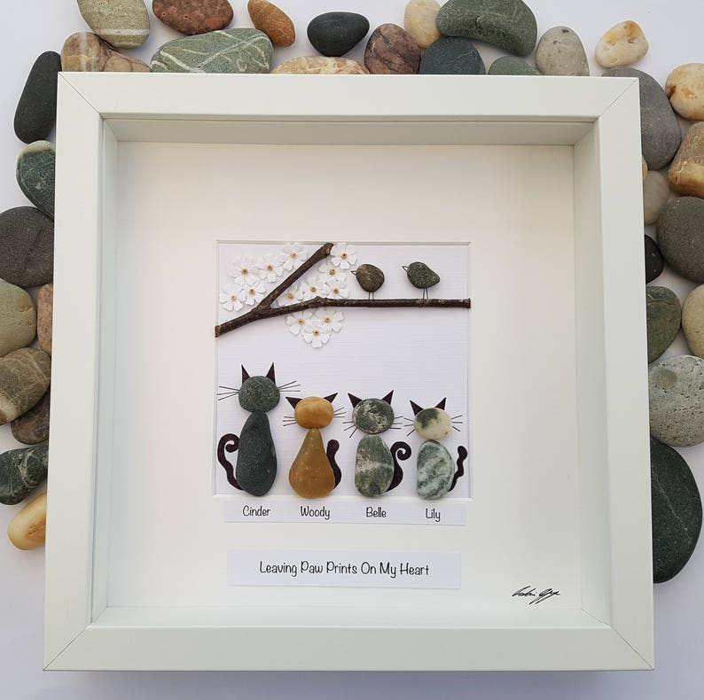 Pebble art cat mothers day gift for mom engagement gift unique image 0