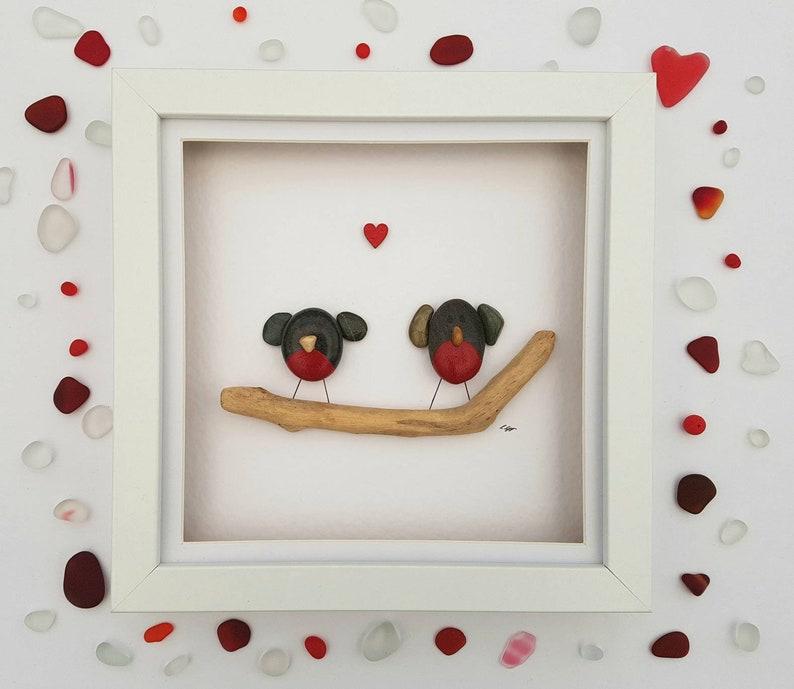 Pebble Art Robins Keepsake Christmas Decor Valentines Day Etsy