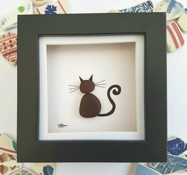 Sea Glass Art Cat Brown Gift For Lovers Unique Mom Birthday Her Anniversary Mum