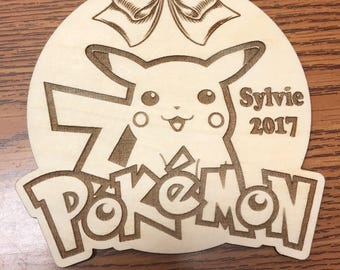 Personalized, Custom, Wooden, Pokemon Ornament with bow, with custom engraving, Pikachu