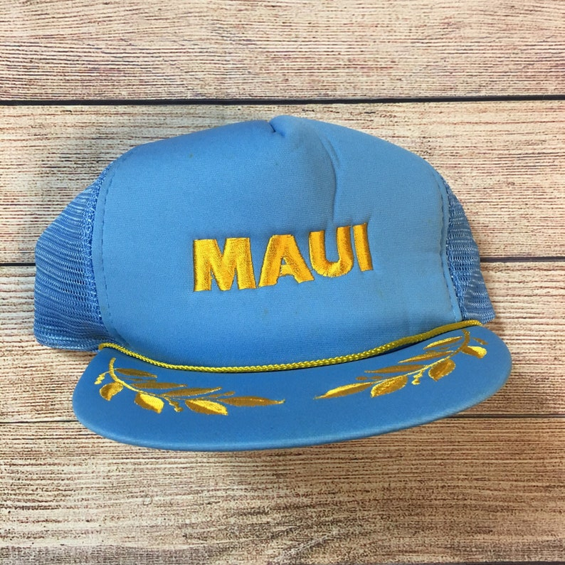 bd98ca9b177d3 80s Hawaii Maui Trucker Snapback Hawaiian Headwear