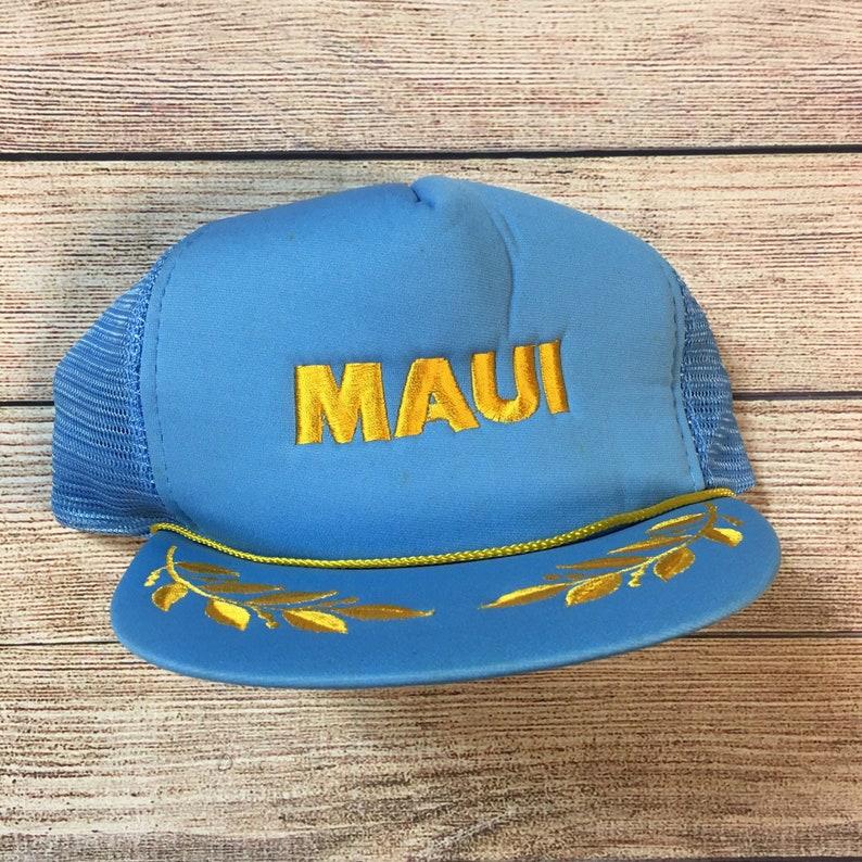 15af88737bc 80s Hawaii Maui Trucker Snapback Hawaiian Headwear