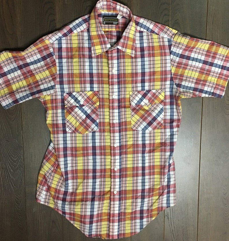 1980s Vintage Short Sleeve Plaid Button Down Dress Shirt made by Sears Sportswear
