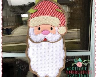Applique and Embroidery Originals Digital Design - 1297 Santa Christmas Door Hanger In-The-Hoop with PDF tutorial Applique Design