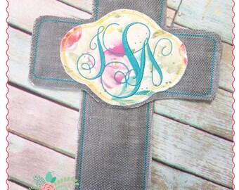 Applique and Embroidery Originals Digital Design - 268 Cross Monogram Door Hanger In-The-Hoop Applique Design, instant download
