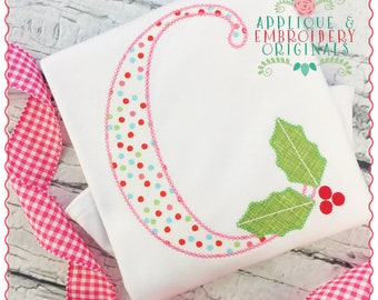 Applique and Embroidery Originals Digital Design- 303 Holly Jolly Alpha Applique Font Christmas for embroidery machine bx pes dst jef