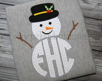 Applique and Embroidery Originals Digital Design PS787 Made for Monogram Winter Snowman 3 Zig Zag Satin Applique Design embroidery machine