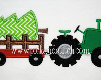 Applique and Embroidery Originals Digital Design PS861 Christmas Tree Tractor Wagon Applique Design embroidery machine instant download
