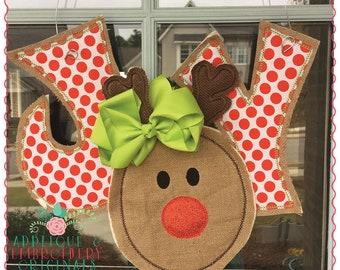 Applique and Embroidery Originals Digital Design - 1279 Rudolph Reindeer Joy Door Hanger In-The-Hoop Applique Design with PDF tutorial