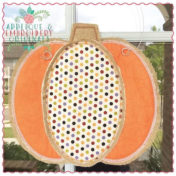 Applique and Embroidery Originals Digital Design 650 Pumpkin Thanksgiving Halloween Door Hanger In-The-Hoop PDF tutorial Applique Design