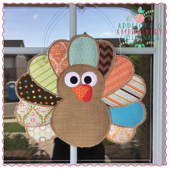 Applique and Embroidery Originals Digital Design - 491 Thanksgiving Fall Turkey Door Hanger In-The-Hoop with PDF tutorial Applique Design