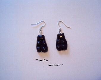 Teddy bear chocolate Marshmallow earrings