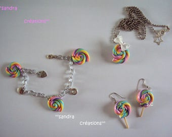 Lollipop candy pastel polymer clay ornament
