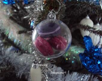 Christmas transparent trio of macarons special Christmas ornament