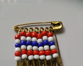Red, White and Blue beaded safety pin