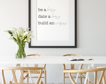 Cute Office Decor Black Gold White Be Boss Date Boss Build An Empire Boss Lady Quotes Boss Babe Girl Boss Cute Office Decor Wall Art Home Decorgift For Her Etsy Cute Office Decor Etsy