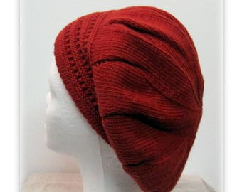Hat knit, brick red