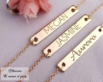Customized Name Bar Necklace / Personalized OR Blank Bar Necklace in Silver , Gold , Rose Gold Initial Bar Necklace  Custom Name