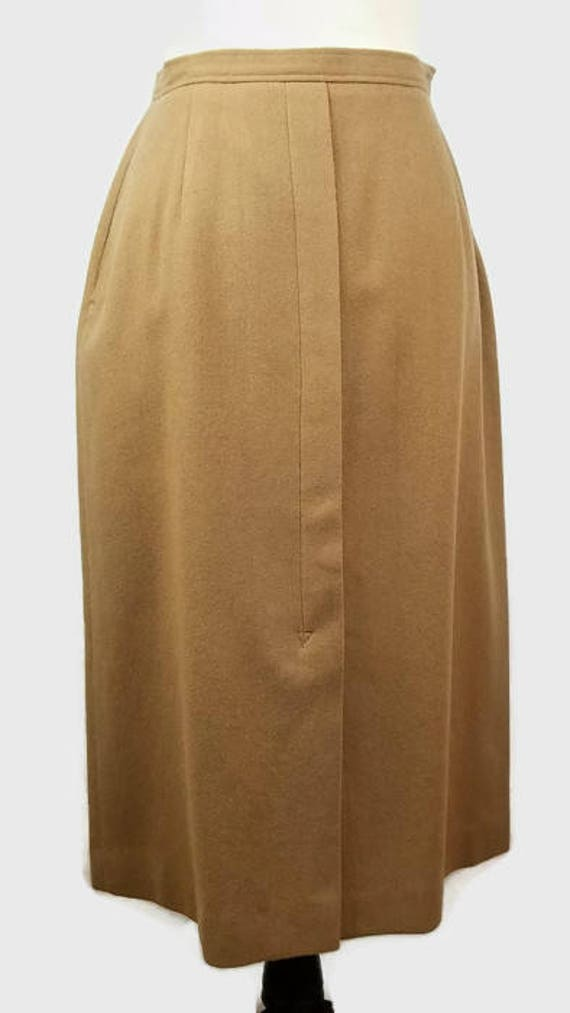 4e56a111f921 Vintage Wool Mid Calf Skirt in Brown Modern Sz S Vintage Sz 10