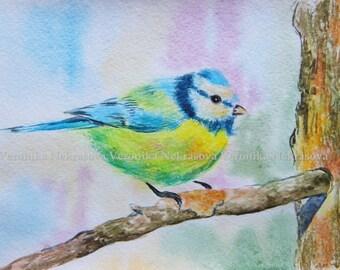 Bird Painting, Original Watercolor Painting, Chickadee Bird on a branch, bird lover gift, Bird Wall Art