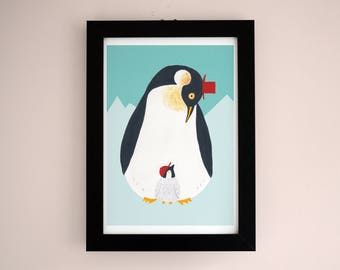 Cool Daddy Penguin Illustration A4 Giclee Art Print