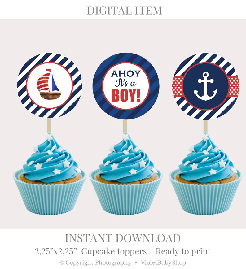 picture about Printable Cupcake Toppers called Nautical Cupcake Toppers Template. Printable Cupcake Toppers. Youngster Shower Muffin Toppers. Military services Ahoy its a Boy Marine. Instantaneous Down load