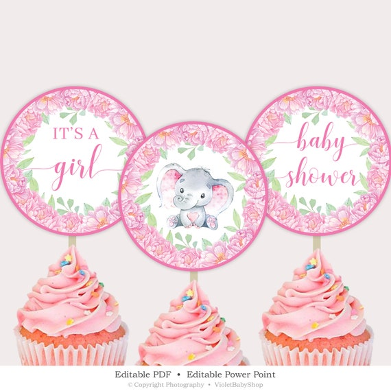photo regarding Cupcake Template Printable titled Elephant Cupcake Toppers Template, Printable Blush Crimson Florals Toppers, Floral Woman Kid Shower Cupcake Toppers, Immediate Obtain SLON1