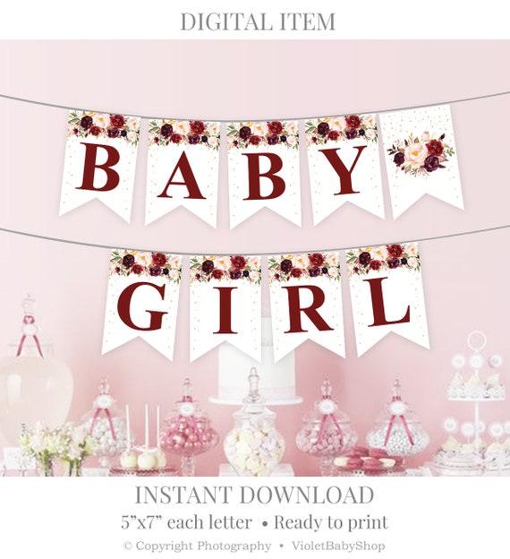 Marsala Baby Shower Banner Template Printable Burgundy And